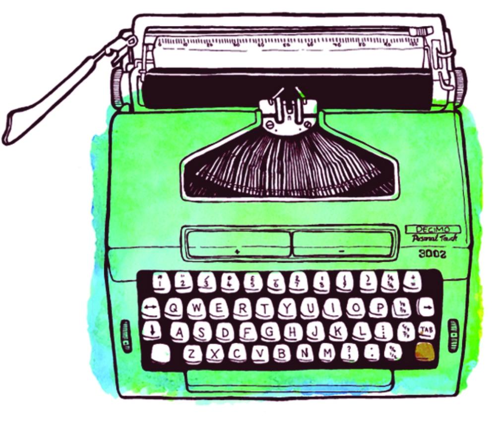 green typewriter illustration